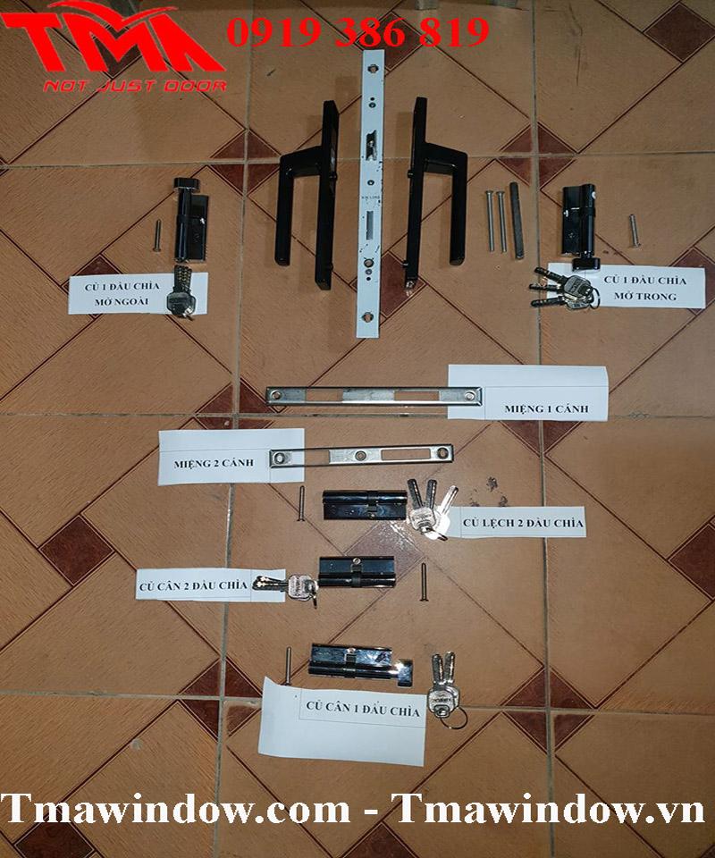 Bộ khóa đơn điểm Kinlong lắp cho cửa nhôm Xingfa, việt pháp, PMA